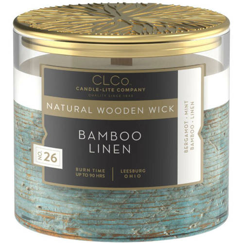 Candle-lite CLCo Candle Natural Wooden Wick 14 oz luxury scented candle ~ 90 h - No. 26 Bamboo Linen