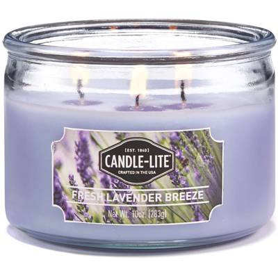 Candle-lite Everyday Collection 3 Wick Terrace Jar Glass Scented Candle 10 oz 283 g - Fresh Lavender Breeze