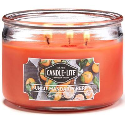 Candle-lite Everyday Collection 3 Wick Terrace Jar Glass Scented Candle 10 oz 283 g - Sunlit Mandarin Berry