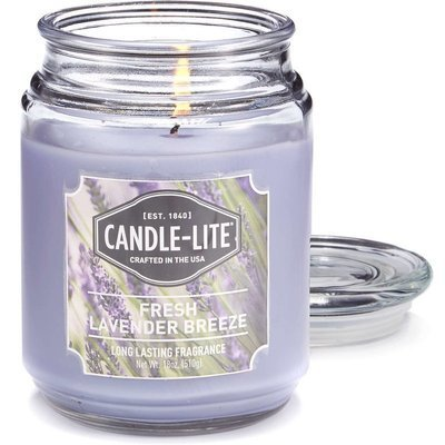Candle-lite Everyday Collection Large Scented Jar Glass Candle 18 oz 145/100 mm 510 g ~ 110 h – Fresh Lavender Breeze
