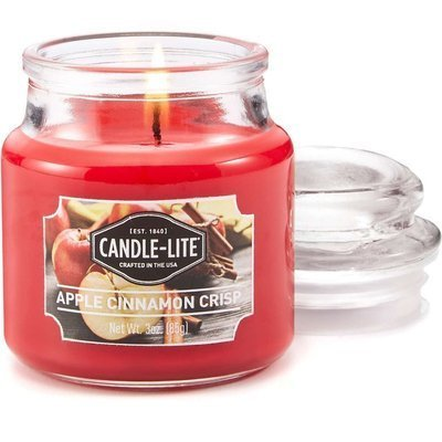 Candle-lite Everyday Collection Scented Small Jar Glass Candle With Lid 3 oz 95/60 mm - Apple Cinnamon Crisp