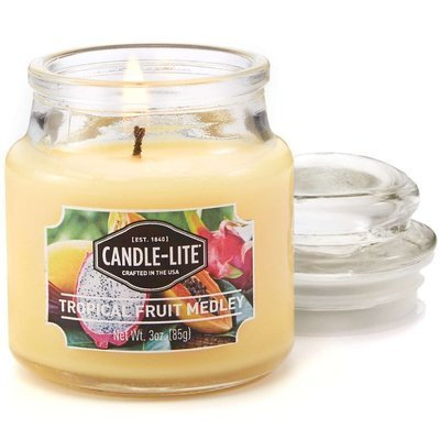 Candle-lite Everyday Collection Scented Small Jar Glass Candle With Lid 3 oz 95/60 mm - Tropical Fruit Medley
