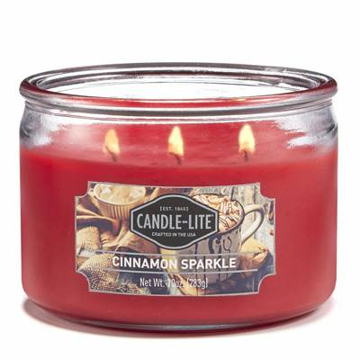 Candle-lite Everyday Collection 3-Wick Terrace Jar Glass Candle 10 oz świeca zapachowa w szkle z trzema knotami 82/105 mm 283 g ~ 40 h - Cinnamon Sparkle
