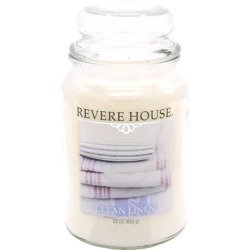 Candle-lite Revere House Jar Glass Candle With Lid 23 oz duża świeca zapachowa w szklanym słoju 185/100 mm 652 g ~ 120 h - Clean Linen \ Pure Cotton