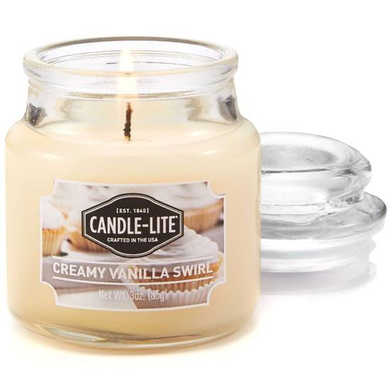 Candle-lite Everyday Collection Jar Glass Candle With Lid 3 oz świeca zapachowa w szkle z pokrywką 95/60 mm 85 g ~ 27 h - Creamy Vanilla Swirl