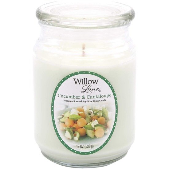 Candle-lite Willow Lane Collection Glass Jar Candle With Lid 19 oz duża sojowa świeca zapachowa w szklanym słoju 145/100 mm 538 g ~ 115 h - Cucumber & Cantaloupe